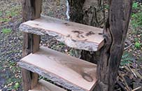 Ash and reclaimed gatepost shelves