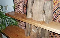 reclaimed and pine gatepost shelves