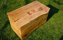 oak toybox, dove tailed, natural organic