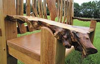 mulberry garden bench, natural, organing laburnum and oak