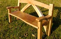 oak frame garden bench, braced oak