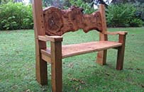 feature oak garden bench, natural organic