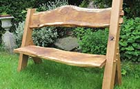 oak garden bench, natural organic