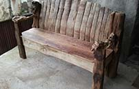 reclaimed wine barrel garden bench, mixed timber
